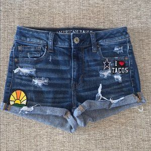 AEO Hi Rise Distressed Patched Shortie 0